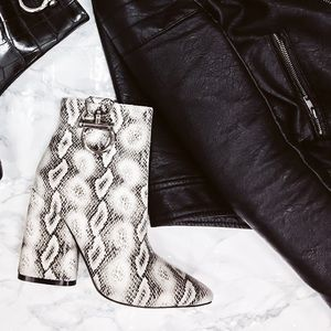 White Black Snake Ankle Booties